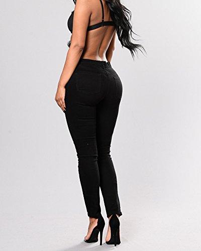 Denim Donna Matita Jeans Ricami Casuale Skinny Pantaloni Boyfriend Nero Floreali qEAwxHPU