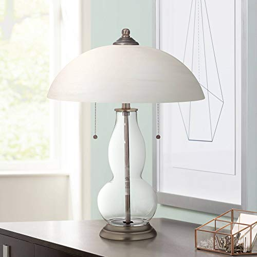 Modern Accent Table Lamp Clear Glass Double Gourd Alabaster Dome Shade for Living Room Family Bedroom Bedside Office - Color + Plus
