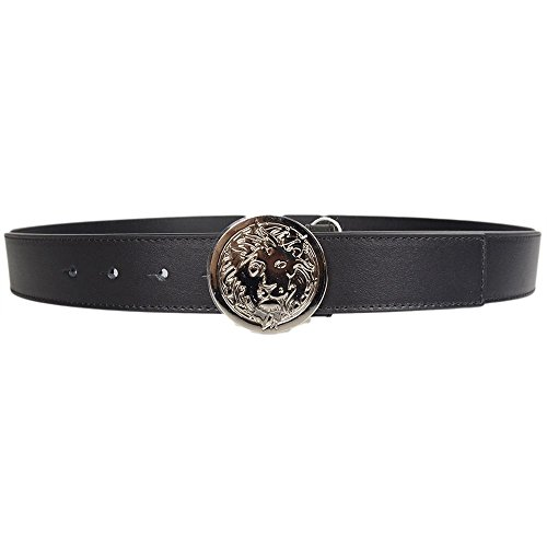 Versace Versus FCU0095 Lion Black Silver Flat Buckle Leather Belt 95 - Versace Versus Men