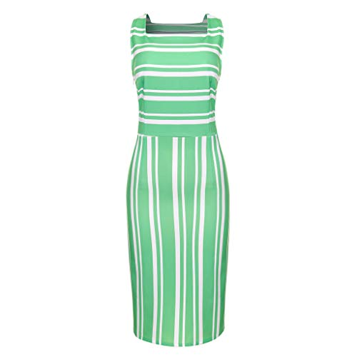 TUSANG Women Skirt Square Neck Sleeveless Striped Print Bodycon Formal Party Ball Gown Dress Slim Fit Sexy Dress(Green,Green) ()