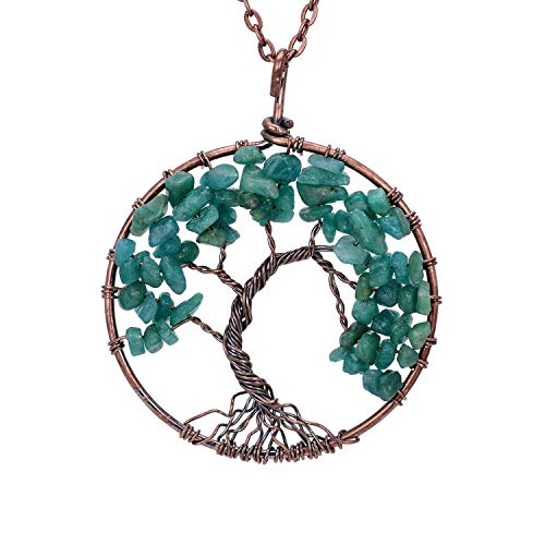 Copper Family Root Tree of Life Green Agate Pendant Necklace Tumbled Raw Natural Healing Birth Stone Vintage Ancient Copper Wisdom Gemstone Birthstone Wire Wrapped Necklace Jewelry