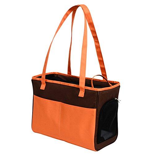 Iconic Pet Furrygo Shoulder Carrier/Bag, Coffee/Orange