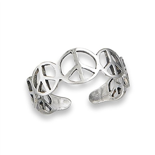 Peace Sign Repeating .925 Sterling Silver Symbol Toe Ring Band