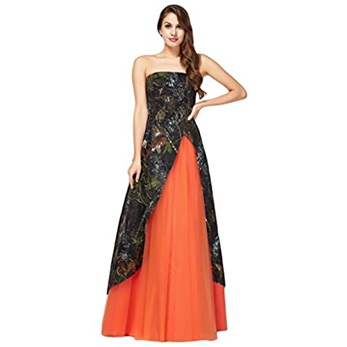 MILANO BRIDE Inexpensive Strapless Long Camo Prom Party Dress Military Ball Gown-26W-Orange