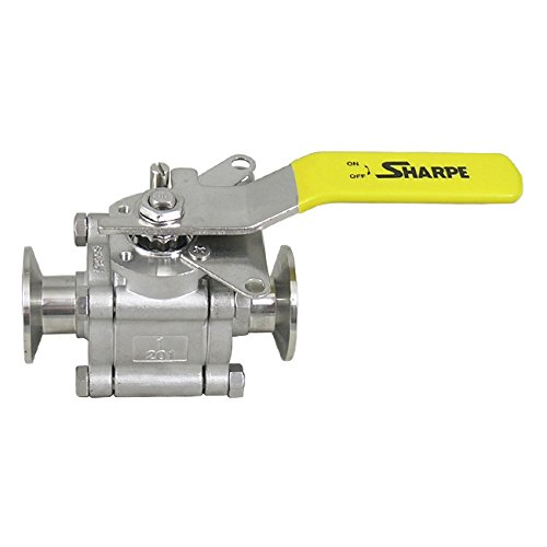 (Sharpe Valves N66 Series Stainless Steel 316 Sanitary Ball Valve with Mounting Pad, Three Piece, Inline, Lockable Lever Handle, 1/2