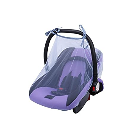 TFTEAM Baby Mosquito Net,Bug Insect Netting Infant Carriers Car Seats Cover Cradles Breathable Cool Encryption Soft Baby Car Cover Size 80*110cm (White)