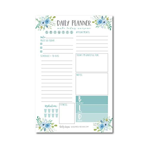 Teal Undated Daily Task Planner To do List Pad, Mom School Family Life Work Personal Productivity Notepad, Day Schedule Organizer, Cute Gift Idea, Fitness Exercise Goal Habit Tracker 50 Tear Off Pages