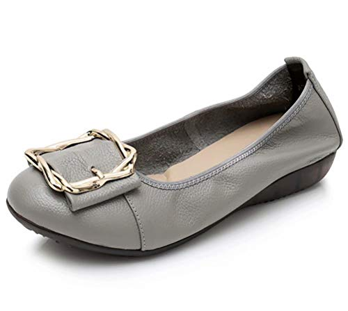 Women's Genuine Leather Comfort Ballet Flats Slip On Dress Shoes US Size 10 Grey