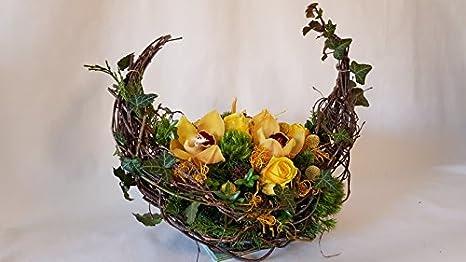 Gr/ö/ße 40 Euro Frisches Gesteck zur Beerdigung in gelb kaufen und versenden,Schweigende Freundschaft