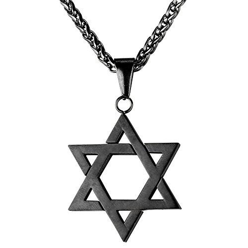 - U7 Cool Black Star of David Necklace Men Gun Black Metal Plated Six-Pointed Pendant Jewish Jewelry