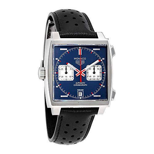 - TAG Heuer Men's 'Monaco' Swiss Automatic Stainless Steel and Leather Dress Watch, Color:Black (Model: CAW211P.FC6356)