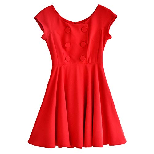 Dabuwawa Women Red Sleeveless Elegant Dress Christmas New Year Party Swing Dress from Dabuwawa