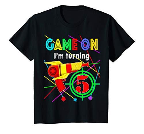Kids Game On I'm Turning 5 years Boy Laser Tag Birthday T-Shirt