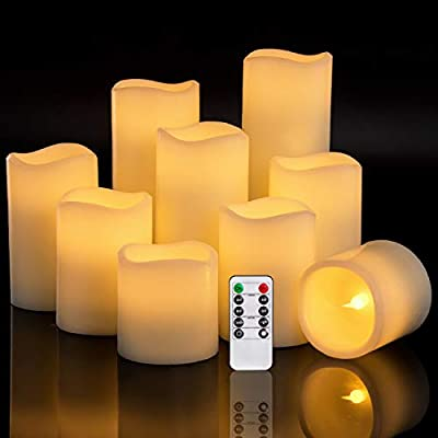 RY King Set of 9 Pillar Real Wax Flameless LED Battery Operated Flickering Electric Candles with Timer and 10-Key Remote Control