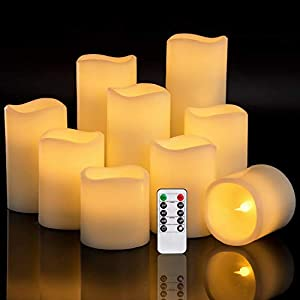 RY King Set of 9 Large Pillar Real Wax Flameless LED Battery Operated Flickering Electric Candles with Timer and 10-key Remote Control