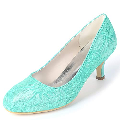 SatéN De De YC Mano L De Las Primavera Tacones Altos Redondo Mujeres a Nupcial 6cm Blue del Hechos Zapatos FY119 Boda Verano IPISqaw