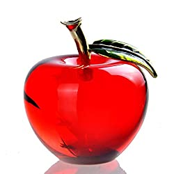 Red Crystal Apple Paperweight