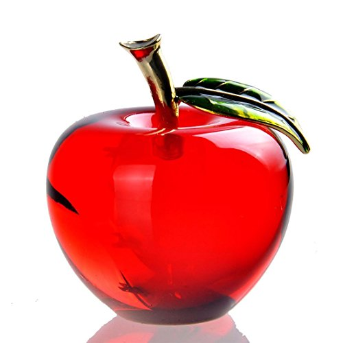 Ceramic Red Apple - Waltz&F Crystal Apple Paperweight Craft Decoration (red)