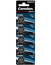 Camelion 13005016 - Lithium knoopcelbatterij CR2016 met 3 volt, 5-delige set, capaciteit 75 mAh, voor verschillende apparaat- en consumentenvereisten