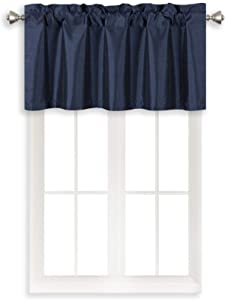 Home Queen Rod Pocket Room Darkening Curtain Valance Window Treatment for Kitchen Room, Short Straight Drape Valance, Set of 1, 94 cm x 46 cm (37 X 18 Inch), Navy