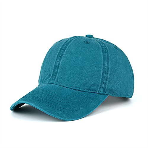 WINCAN Washed Dyed Cotton Twill Low Profile Adjustable Baseball Cap Denim 6 Panel Stitch Baseball Hat (Lake (Profile Cotton Twill Hat)