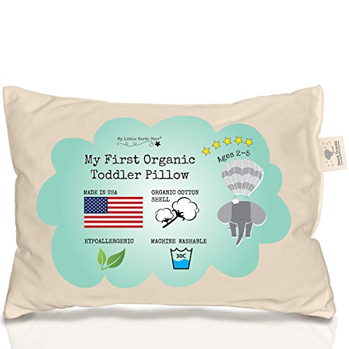 Toddler Pillow 100% ORGANIC Cotton MADE IN USA - Washable Unisex kids pillow - (Personalized Diaper Cover)