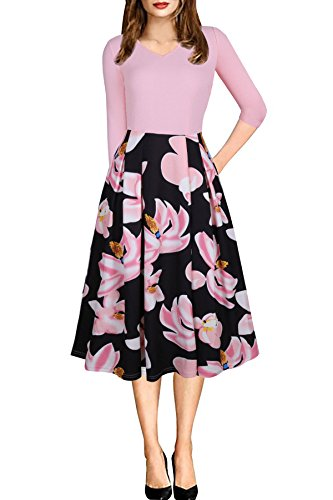 CEASIKERY Women's Vintage Patchwork 3/4 Sleeve Pleated Work Swing Casual Party Dress, Pink, Large Casual Day Dresses