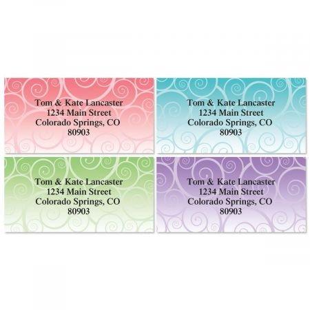 Swirly Girly Personalized Border Return Address labels- Set of 144 1-1/8