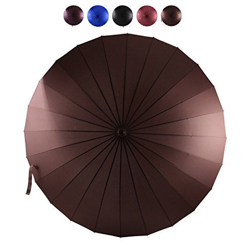 Storm Waterproof Cap (AmaGo Umbrella - 24 Steel Ribs for Rainstorm, Windproof, Waterproof, Wooden Cap & Wooden Handle for Lightning Protection, Push Open & Close, Long Straight Umbrella with Carrying Bag)