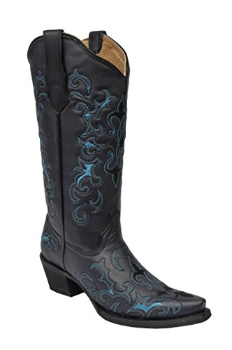 Corral Circle G Women's Black/Turquoise Fleur-De-Lis Embroidered Cowboy Boots