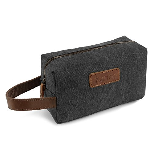 Kattee Mens Travel Toiletry Bag, Canvas Leather Cosmetic