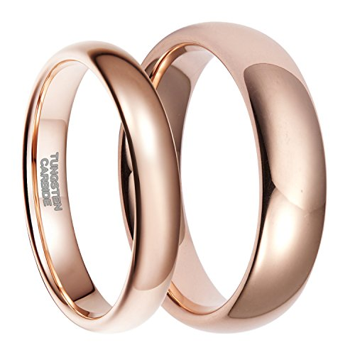Frank S.Burton His Rose Gold Plated Tungsten Wedding Band Ring for Men High Polish Comfort -