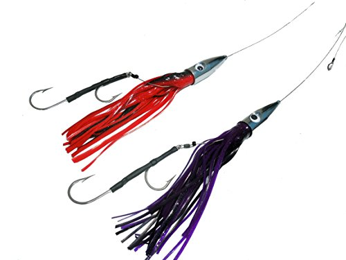 2 Pack Bullet Head Wahoo killer cable rigged trolling lures