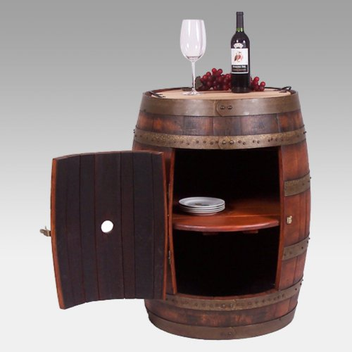 2 Day Designs Reclaimed Wine2Night Full Barrel Cabinet on Casters For Sale