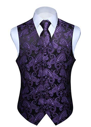 - HISDERN Men's Paisley Floral Jacquard Waistcoat & Neck Tie and Pocket Square Vest Suit Set