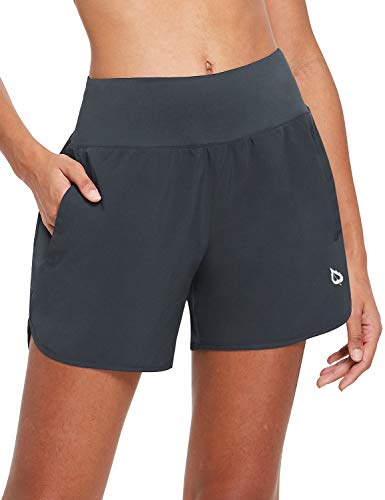 BALEAF Womens 5 Inches Knit Waistband Running Shorts with Liner Quick Dry Lounge Gym Walking Lined Shorts Back Zipper Pocket Grey Size S