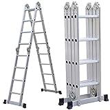 15.5FT Aluminium Multi-Purpose Foldable Extension Ladder Telescopic Steps