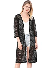 Women's 3/4 Sleeves Sheer Open Front Lace Cardigan