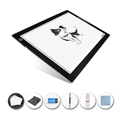 Huion 17.7 Inches (Diagonal Length) 7mm Extra Thin LED Drawing Tracing Stencil Board Table Tattoo Pad Light Box with Multifunctional Stander, Drawing Board Clip, Tracing Paper - A4 Holder
