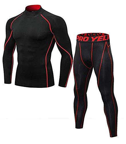 Mens Thermal Underwear Set Mock Neck Long Sleeve Compression Base Layer Tops and Bottom Skiing Running Red line S