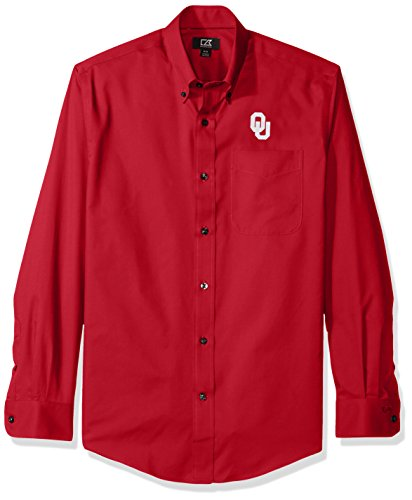 Long Embroidered Sleeve Oklahoma (NCAA Oklahoma Sooners Men's Long sleeve Epic Easy Care Fine Twill Shirt, XX-Large, Cardinal Red)