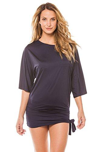 Michael Michael Kors Women's Chain Solids Tunic Swim Cover Up Navy M