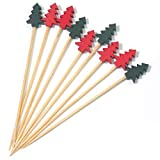 PuTwo Cocktail Picks 100 Counts Appetizer Toothpicks 4.7 Inch Decorative Toothpicks Cocktail Toothpicks for Appetizer, Decorative Skewers Party Picks for Cocktail Party, Drink Picks with Trees