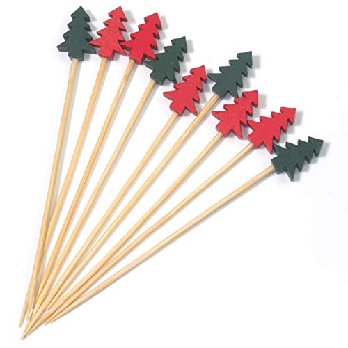 (PuTwo Cocktail Picks 100 Counts Appetizer Toothpicks 4.7 Inch Decorative Toothpicks Cocktail Toothpicks for Appetizer, Decorative Skewers Party Picks for Cocktail Party, Drink Picks with Trees )