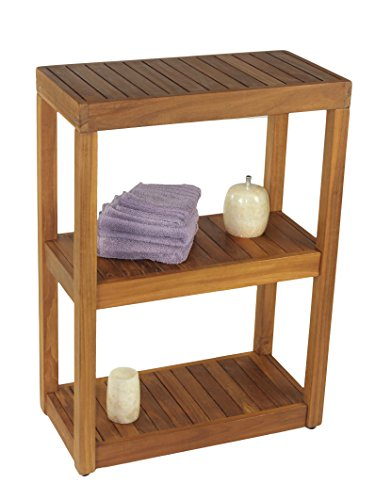 The Original Sula Rectangle Three Tier Teak Bath Stand by AquaTeak