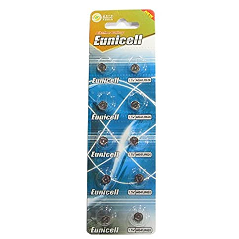 - 41iAe0Xzn0L - 10 Eunicell AG4 / LR66 / 177 / 377 / LR626 Button Cell Battery Long Shelf Life 0% Mercury (Expire Date Marked)