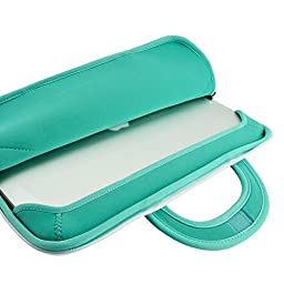 15 inch Macbook Pro Sleeve Case, KOZMICC 15 15.4 Inch Neoprene MacBook Pro Sleeve Case (Turquoise Mint/White) w/ Handle for 15-inch Apple Macbook Pro, Apple MacBook Pro w/ Retina Display