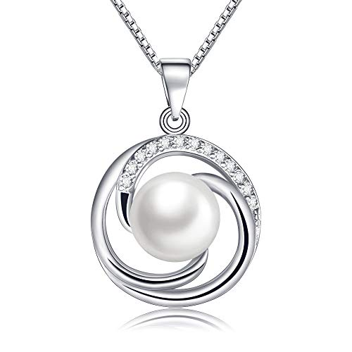 8mm Cultured Freshwater Pearl Necklace - CAT EYE JEWELS 8MM Freshwater Cultured Pearl Necklace S925 Sterling Silver Halo Style