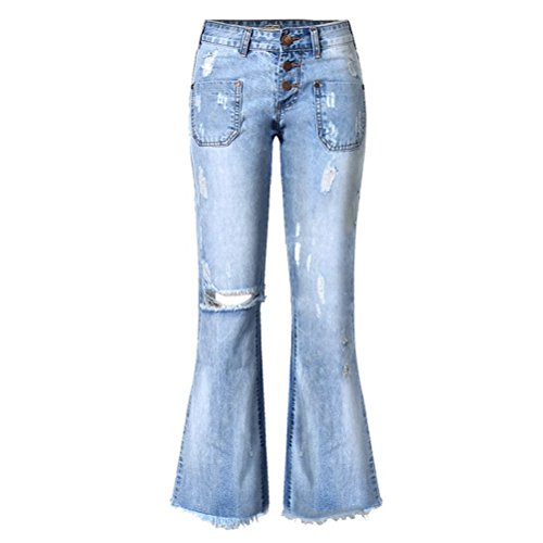 Distressed Flare Jeans (Tengo Women Ripped Wide Flared Jeans (10, Blue))