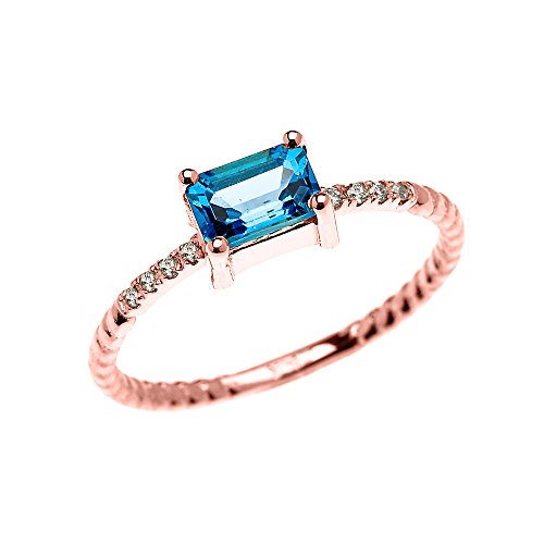 14k Rose Gold Diamond and Emerald Cut Solitaire Blue Topaz Dainty Promise/Engagement Ring(Size ()